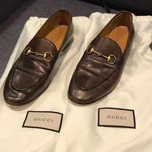 GUCCI Jordaan Leather Loafers Dark Brown Size 39